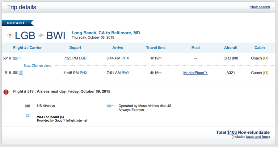Long Beach to Baltimore for $103 one-way.