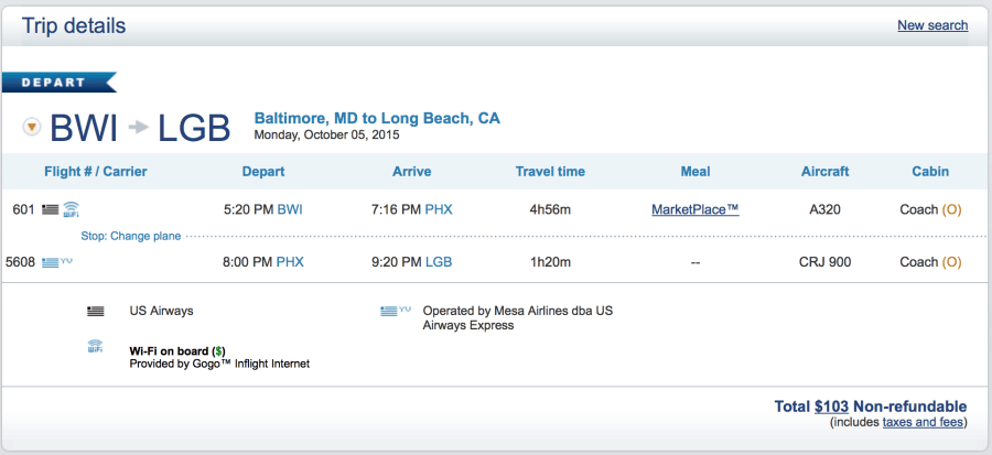 Baltimore to Long Beach for $103 one-way.
