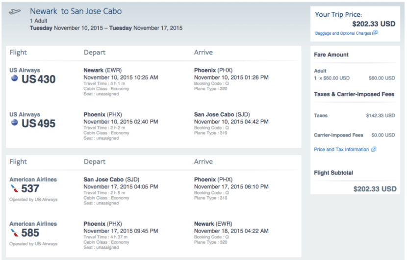 Newark (EWR)-Cabo San Lucas (SJD) for $202 on AA