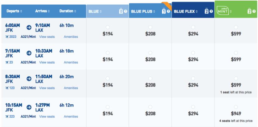 JetBlue's new fare options on a JFK-LAX flight.