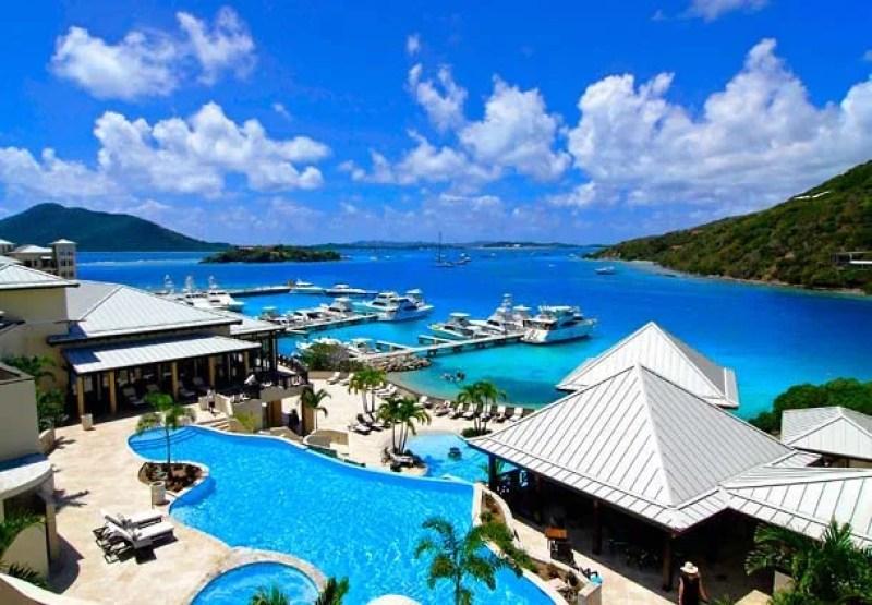 Lovely poolside views of the marina at Scrub Island Resort.