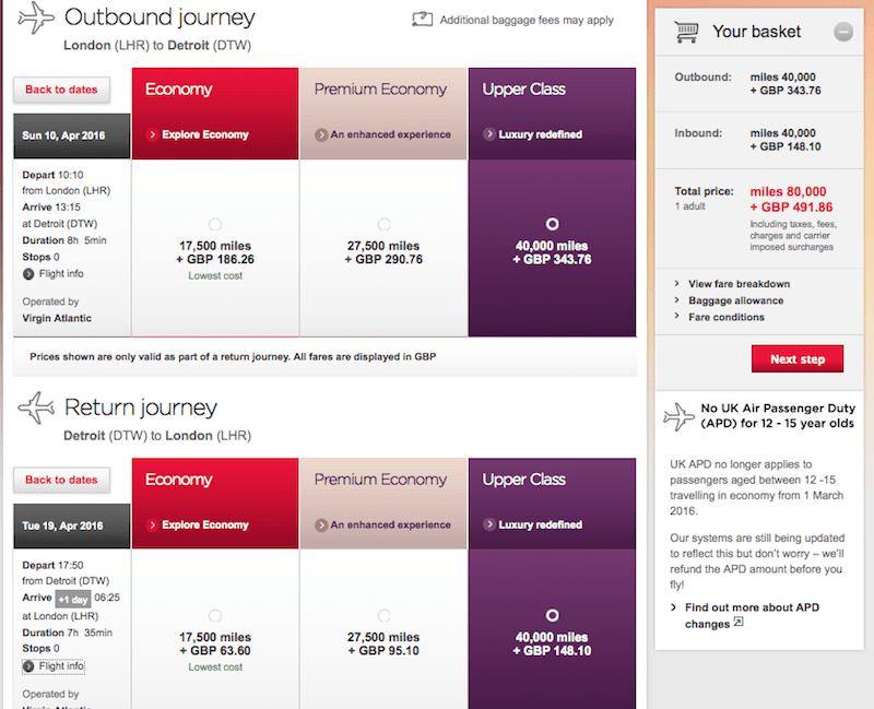 Virgin will charge you fewer miles but more in taxes and fees.