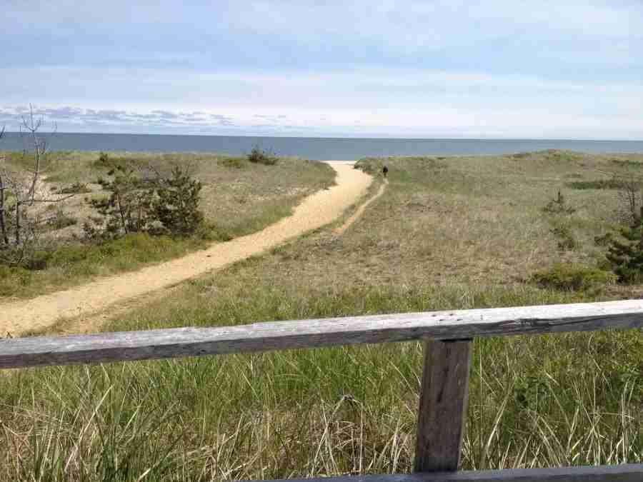 The quiet bike path along Nantucket