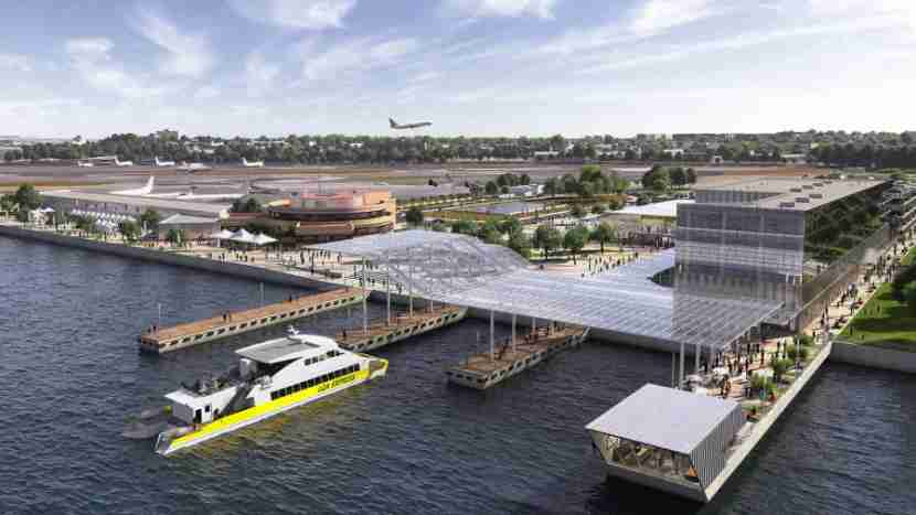 A new ferry terminal will connect the Marine Air Terminal to Manhattan.