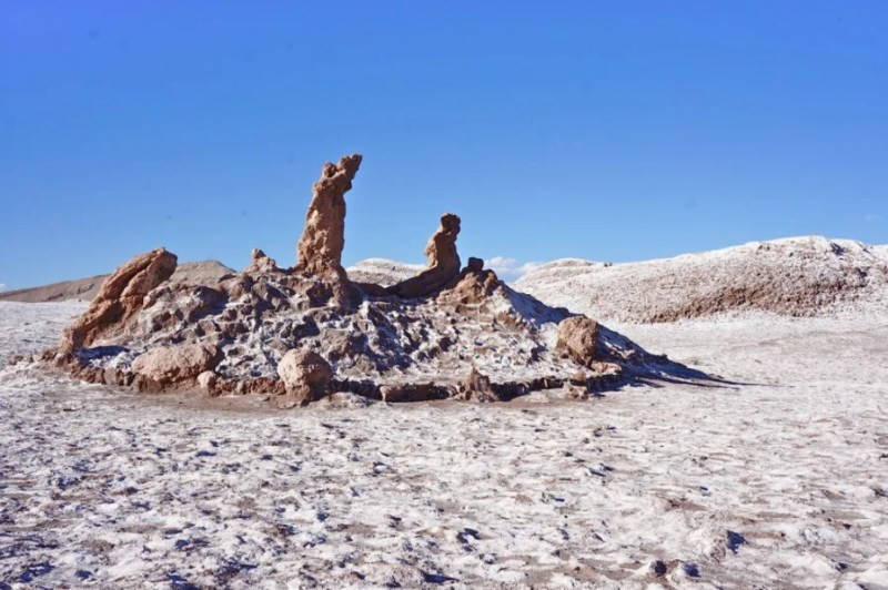 The Valle de la Luna (Valley of the Moon), the ground is crusted with strange rock formations and salt deposits.