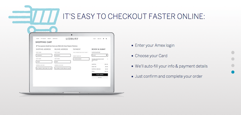 When you check out, simply select Amex as your payment method, enter your account info and the fields will populate automatically.