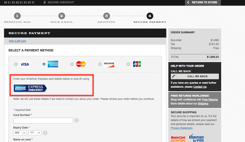 Look for the new Amex Express Checkout button when you select Amex as your payment method.