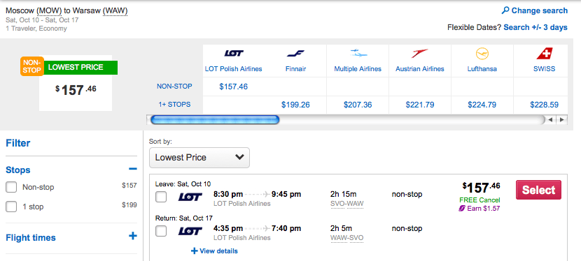 You can get to Warsaw for less than $200 round-trip.