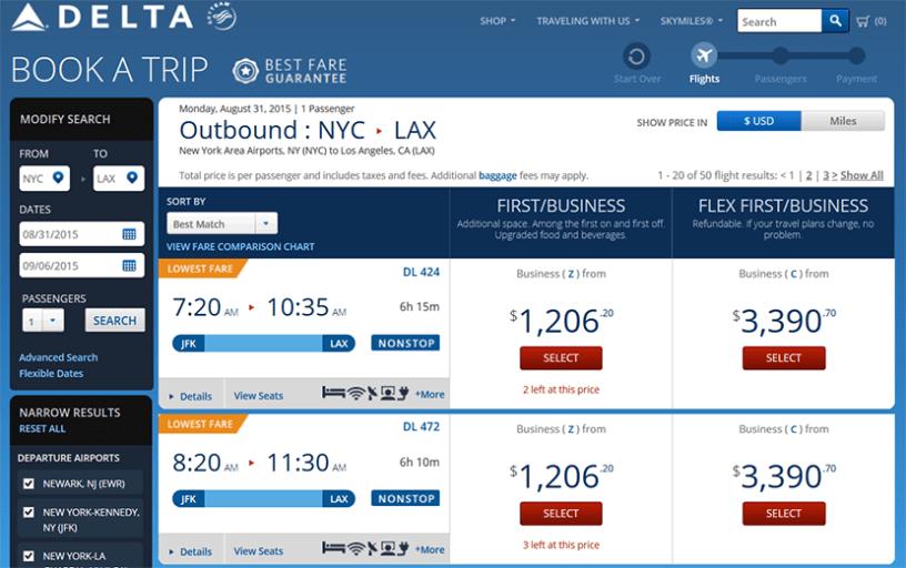 Delta transcon itinerary JFK-LAX