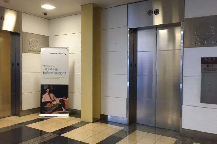 You can't miss the elevators up to the lounge, they're directly after security.