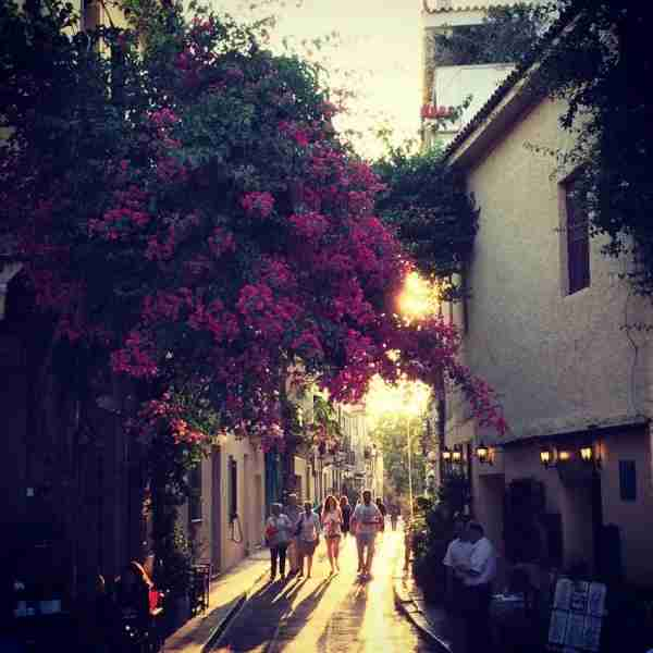 Sunset on a quiet street in Plaka, Athens