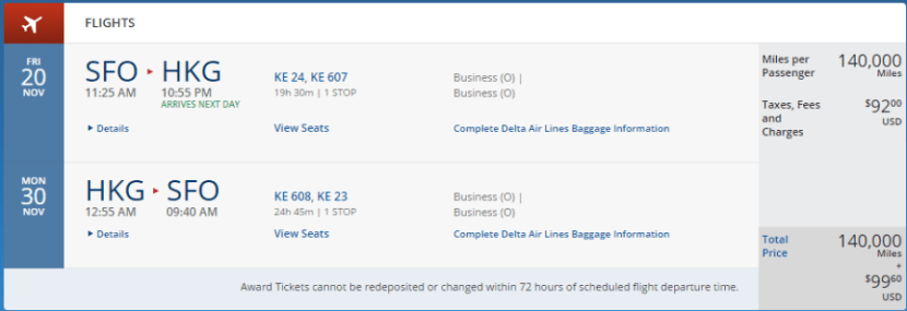 San Francisco to Hong Kong in business class over Thanksgiving, November 20-30