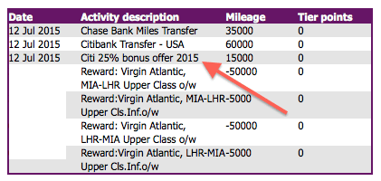 My transfer bonus posted the same day as the rest of the miles I transferred.