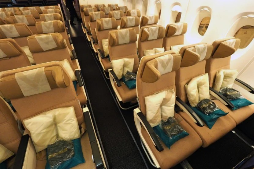 Etihad's economy seats include larger headrests and lumbar support.