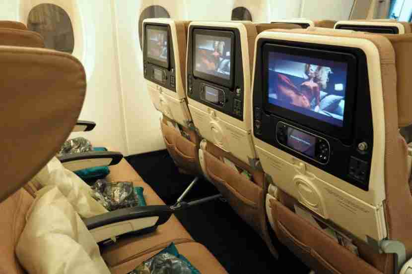Each Etihad A380 economy seat includes USB and power outlets.