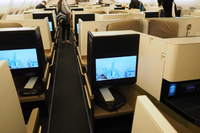 The A380's business-class cabin is arranged in a 1-2-1 configuration.