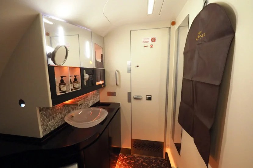 The main lavatory is large enough to change and wash up comfortably.