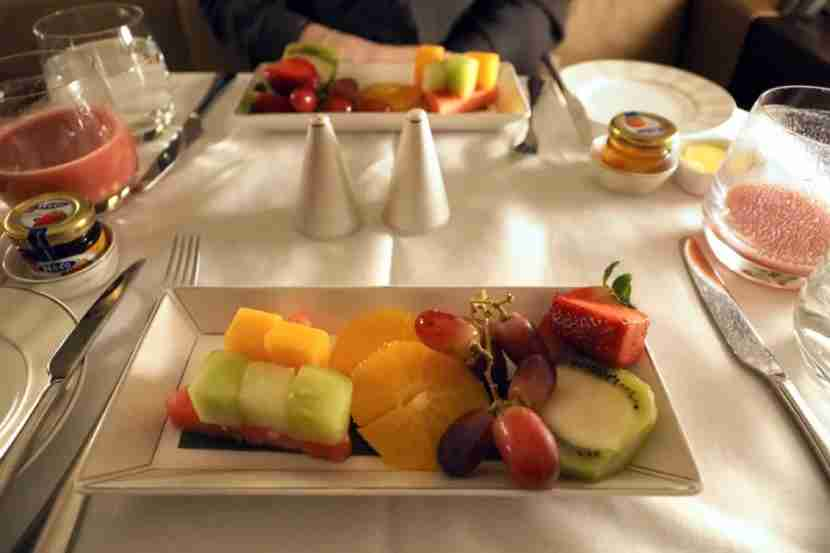 Breakfast included a starter of fresh fruit.