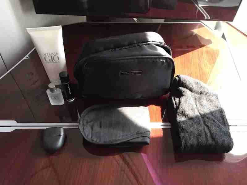 The amenity kit contained Armani and Rituals products.