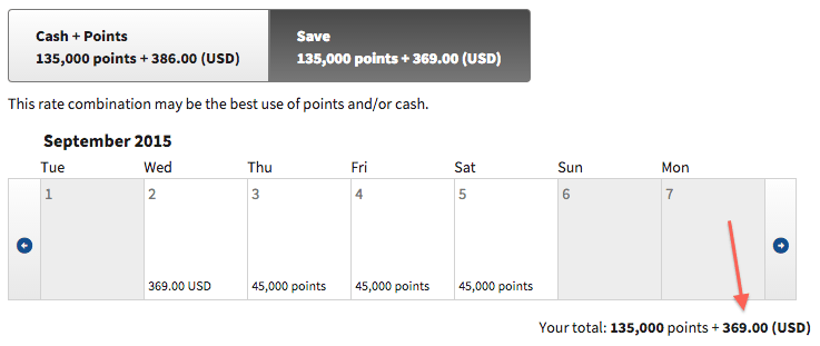 Marriott's site easily identified a way for me to save $17 on this reservation.