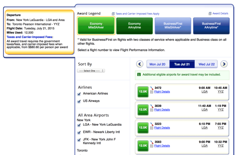 American Airlines has MileSAAver awards available from NYC-YYZ.