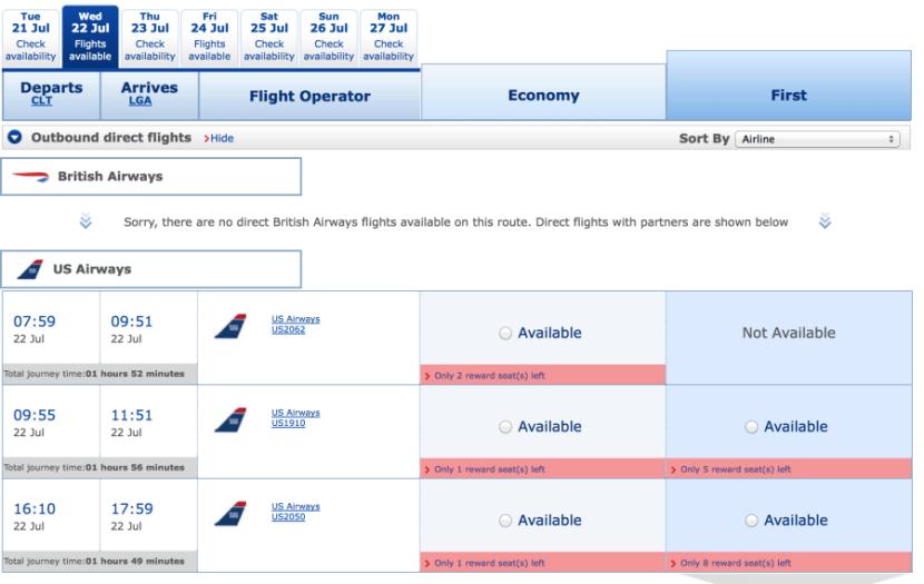 The British Airways site is currently displaying US Airways.