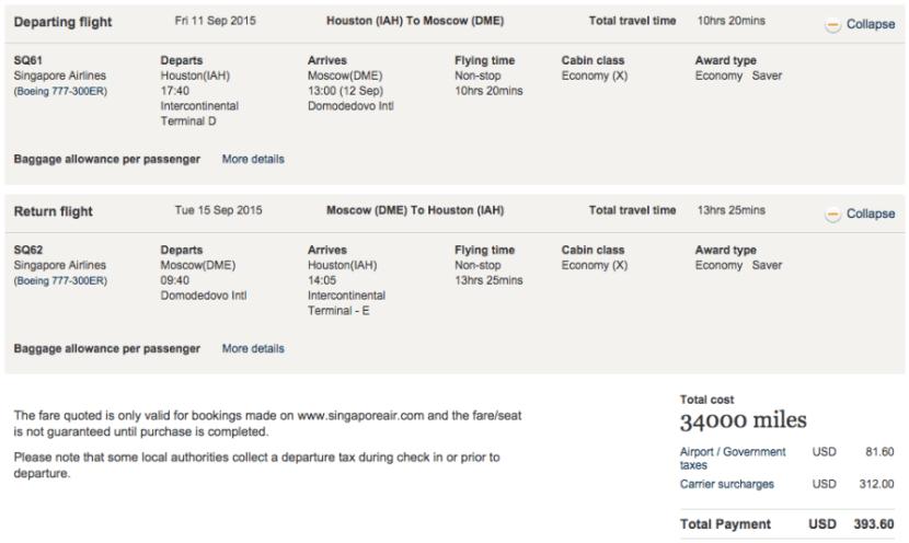Houston to Moscow for 34,000 miles plus $393.
