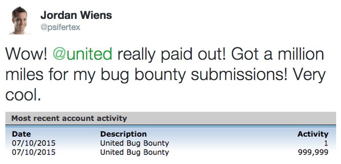United issued 1,000,000 miles to at least one lucky bug submitter.