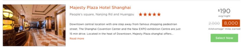 I need a hotel in Shanghai for 2 nights, which could earn me 8,000 AAdvantage miles.