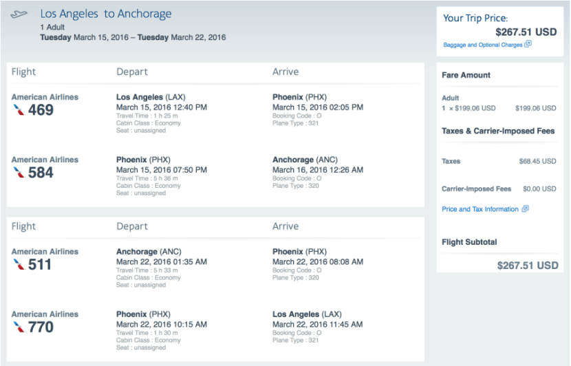 Los Angeles to Anchorage on American Airlines for $268.