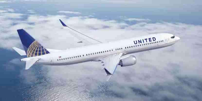 United-plane-over-ocean