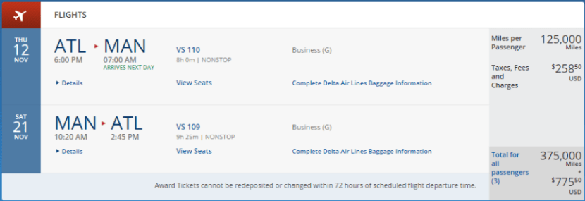 Atlanta to Manchester in Upper Class (for three passengers!), November 12-21