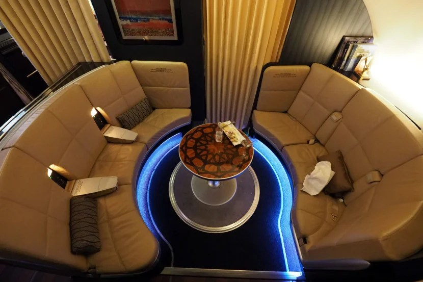 Etihad's A380 features an upper-deck lounge and workspace between first and business class.
