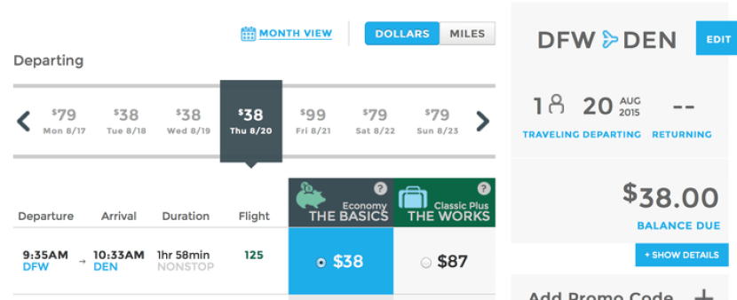 Head from Dallas/Ft. Worth to Denver for $39 one-way on Frontier Airlines.
