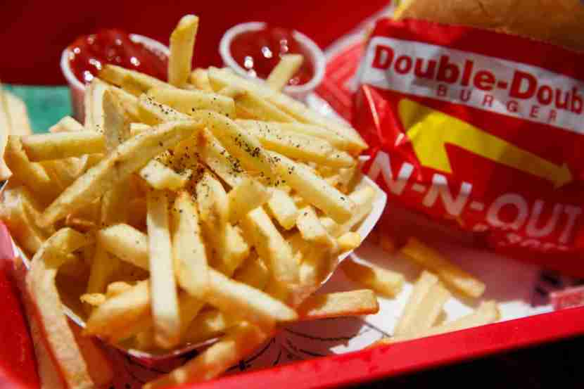 The classic In-N-Out Double-Double with fries. If you want to really fill up, you can get the fries animal-style, too — covered in cheese, grilled onions and Thousand-Island dressing.