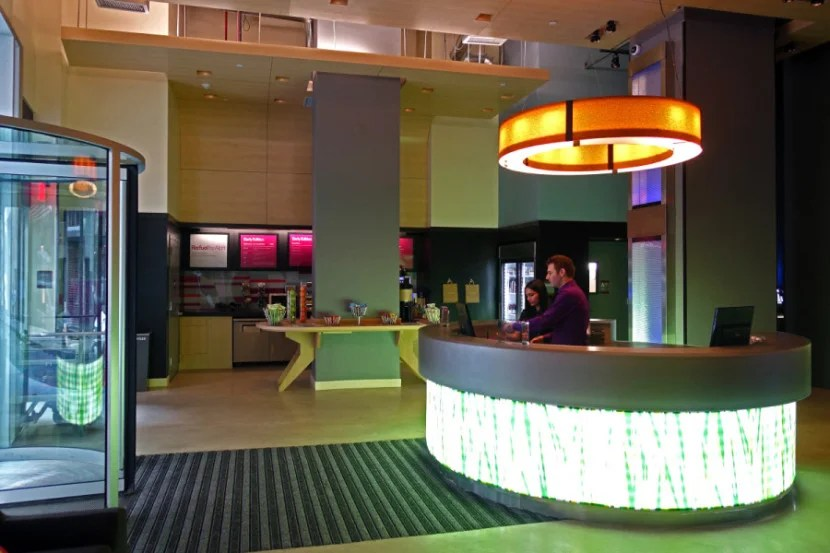 The lobby at Aloft Downtown.