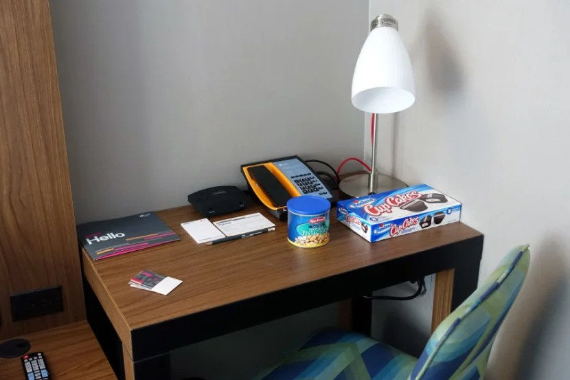 The desk included a power station with USB ports for charging gadgets.