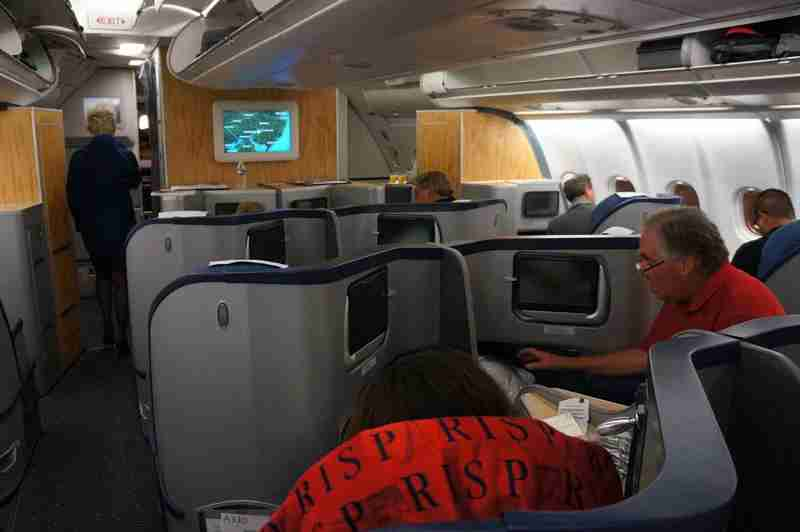 An overview of the business-class cabin on US Airways A330 as seen from Seat 5B.