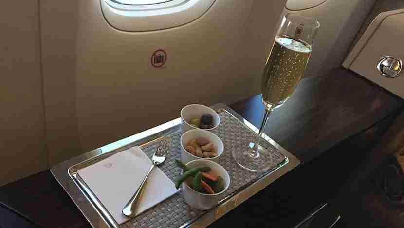 I started my flight with Bollinger and snacks.