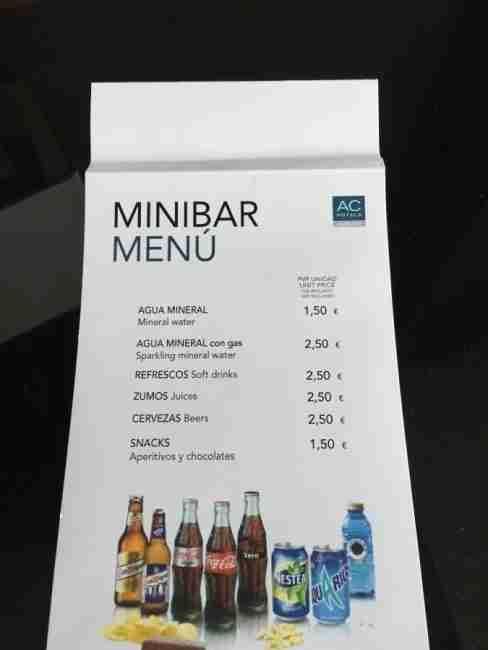 The surprisingly reasonable mini-bar price list.
