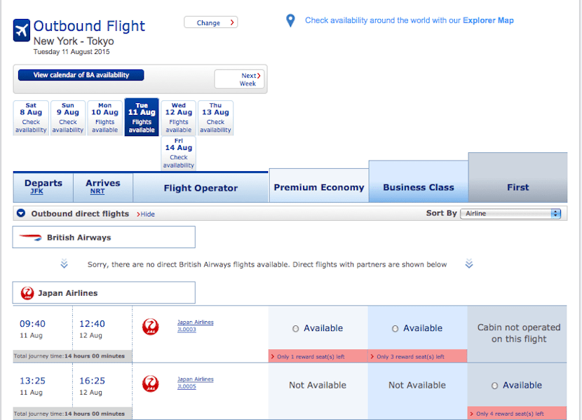 Like with Cathay, search for JAL awards using Qantas