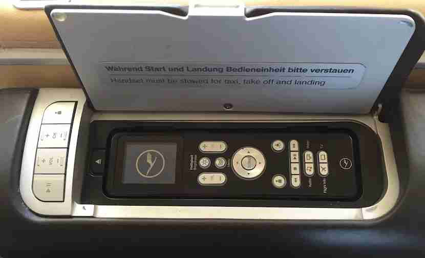The IFE remote control.