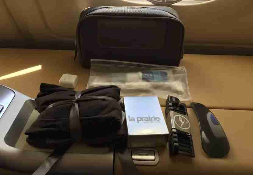 The amenity kit included La Prairie products.