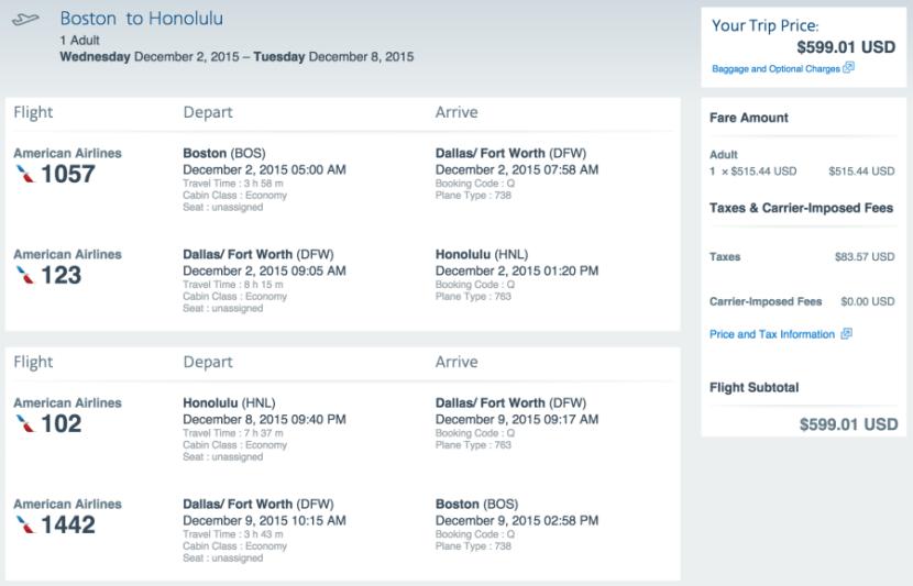 Boston to Honolulu for $599 on AA.