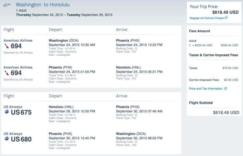 Washington, D.C. to Honolulu for $619 on AA.