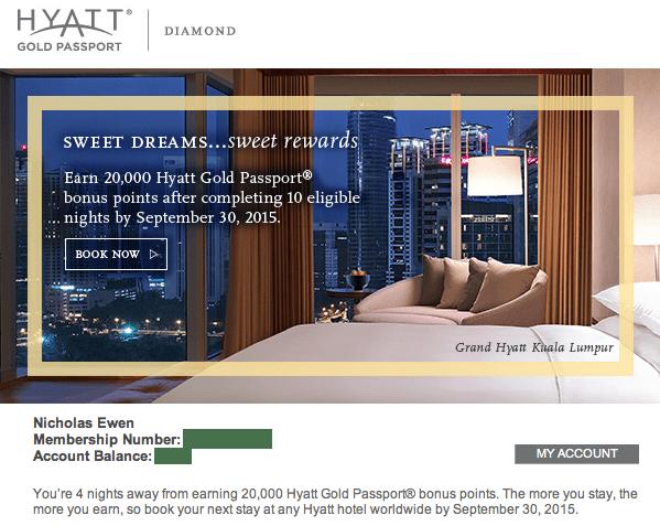 Hyatt promo e-mail