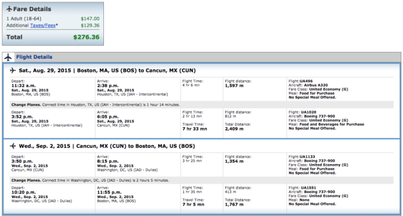 Boston to Cancun for $276 on United.