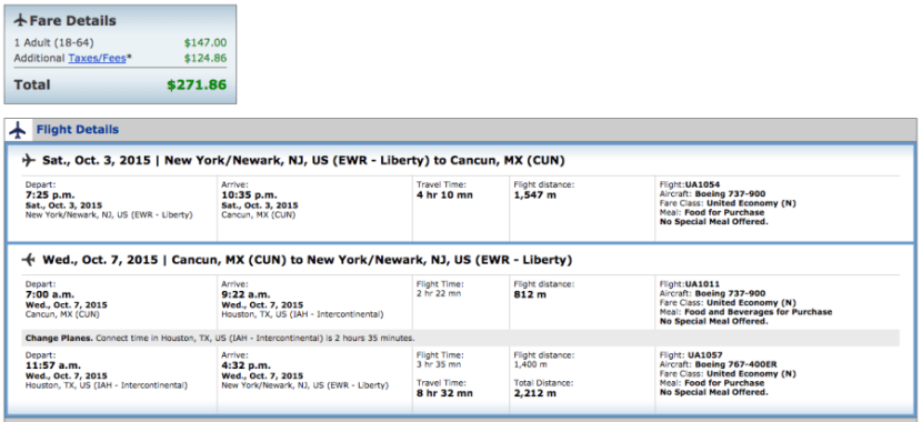 Newark to Cancun on United for $272.