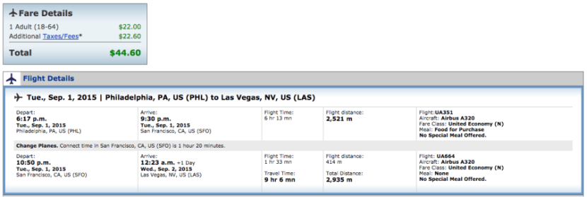 Philadelphia to San Francisco for $45 on United.