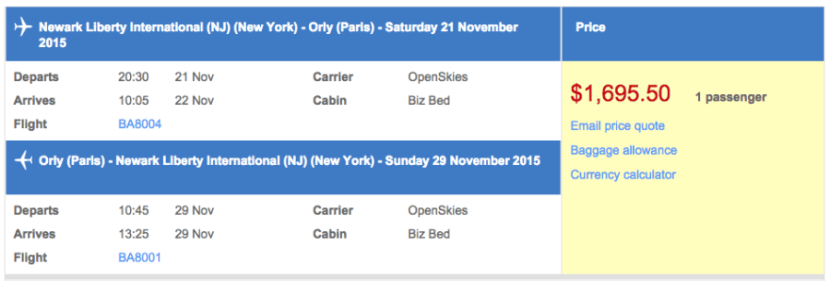Newark (EWR) to Paris (ORY) in business class on OpenSkies for $1,696.